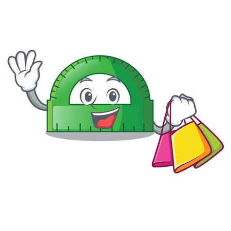 Shopping protractor in a the cartoon bag vector illustartion Illustration
