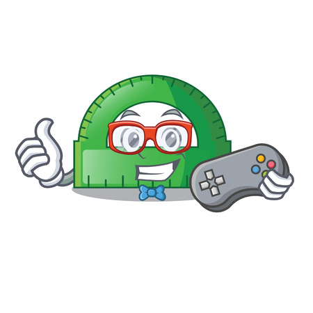 Gamer protractor on a the mascot table vector illustartion