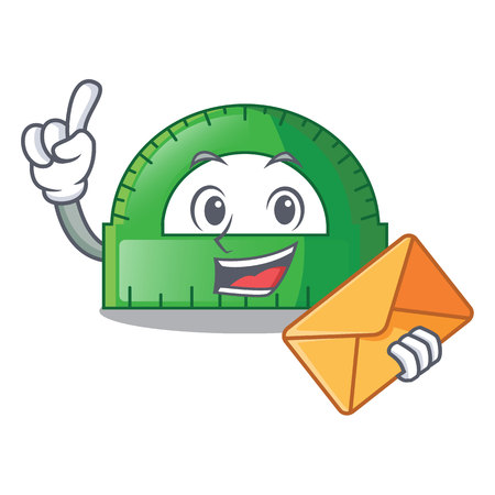 With envelope protractor in a the cartoon bag vector illustartion