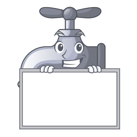 Grinning with board water tap in shape of mascot vector illustration