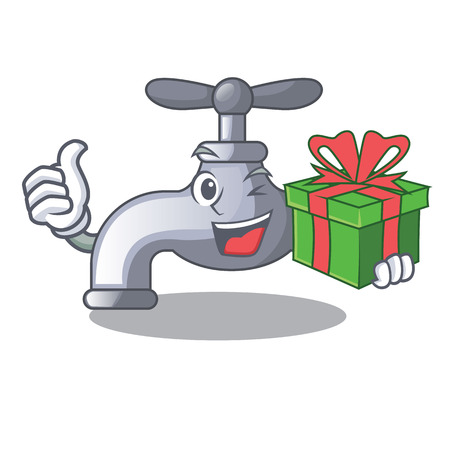 With gift water tap isolated on the character vector illustration