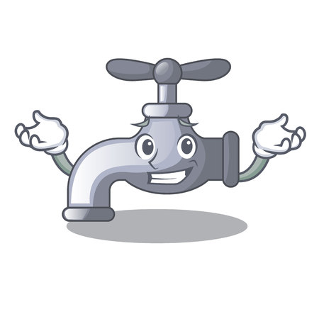 Grinning water tap installed in cartoon bathroom vector illustration