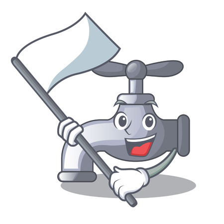 With flag water tap in shape wooden cartoon vector illustration