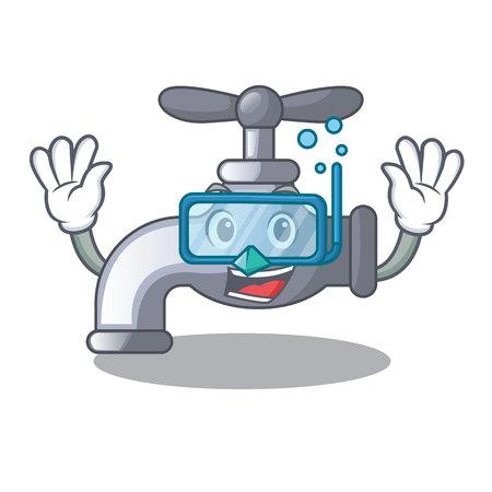 Diving water tap installed in cartoon bathroom vector illustration