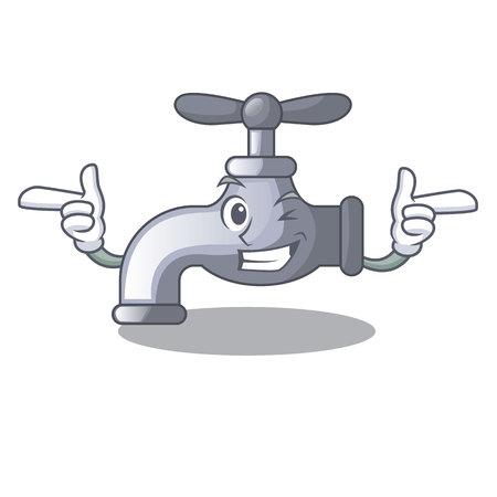 Wink water tap installed in cartoon bathroom vector illustration
