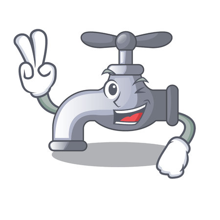 Two finger water tap installed in cartoon bathroom vector illustration