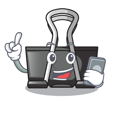 With phone binder clip in the character shape vector illustration Illustration