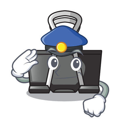 Police binder clip in the character shape vector illustration
