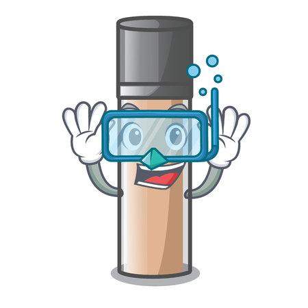 Diving makeaup foundation in a cartoon bag vector illustration