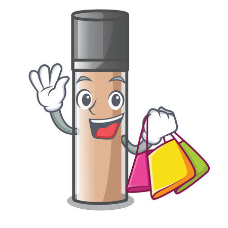 Shopping makeaup foundation in a cartoon bag vector illustration Illustration