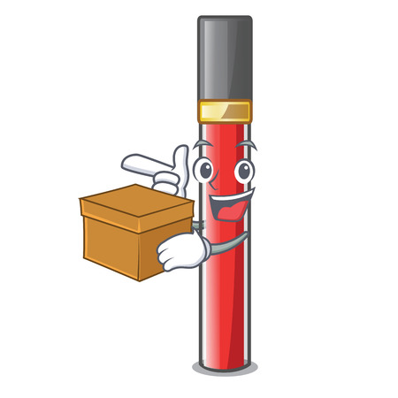 With box lip gloss isolated in the mascot vector illustration Stock Illustratie