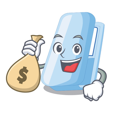 With money bag staplers in the a cartoon shape vector illustration Illustration