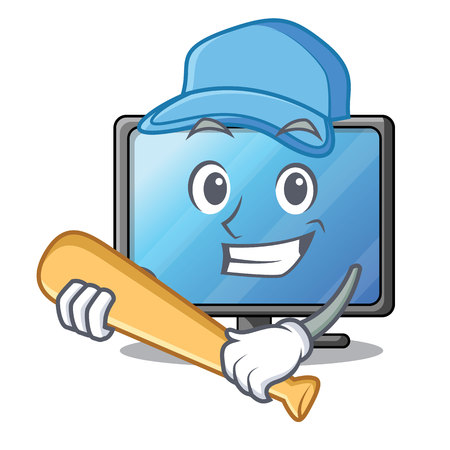 Playing baseball lcd tv cartoon in living room vector illustration