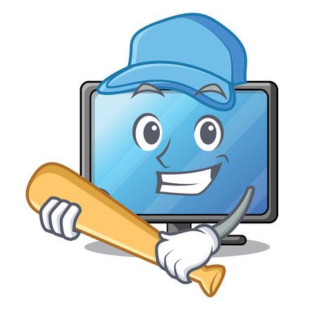 Playing baseball lcd tv cartoon in living room vector illustration
