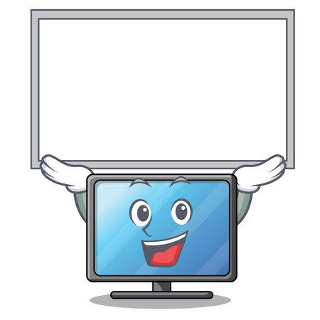 Up board lcd tv cartoon in living room vector illustration