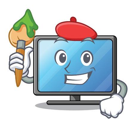 Artist lcd tv cartoon in living room vector illustration Illustration