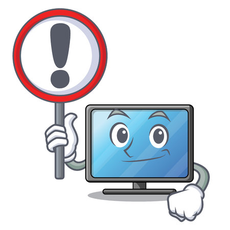 With sign lcd tv cartoon in living room vector illustration