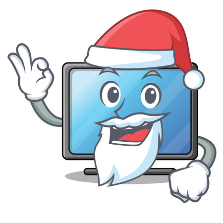 Santa lcd tv isolated with the character vector illustration