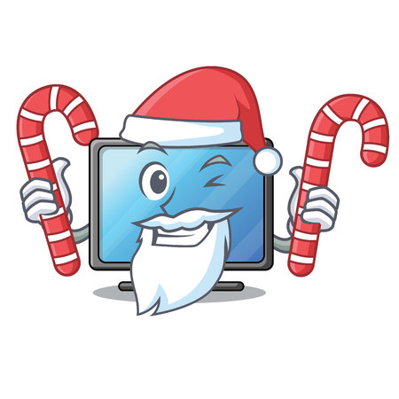 Santa with candy lcd tv isolated with the character vector illustration Ilustração