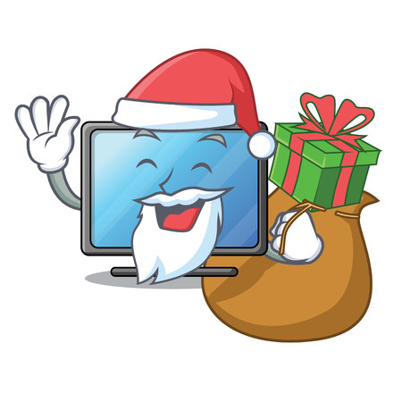 Santa with gift lcd tv isolated with the character vector illustration