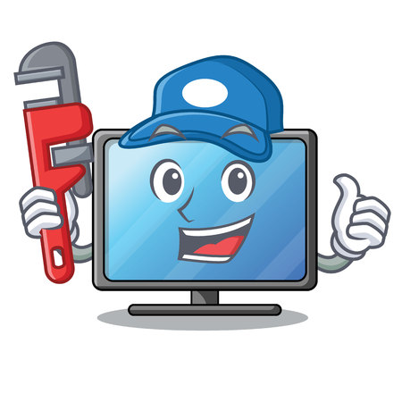 Plumber lcd tv isolated with the character vector illustration