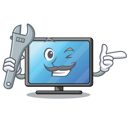 Mechanic lcd tv isolated with the character vector illustration