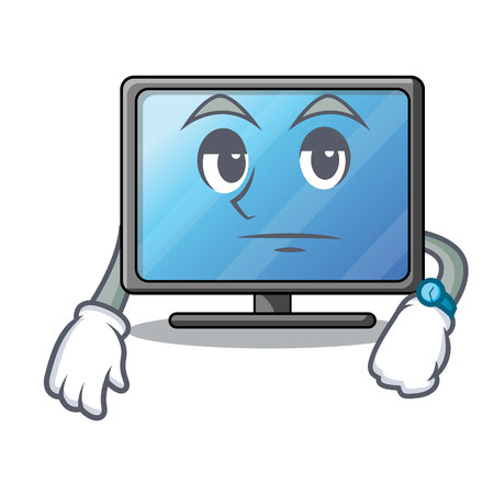 Waiting lcd tv isolated with the character vector illustration