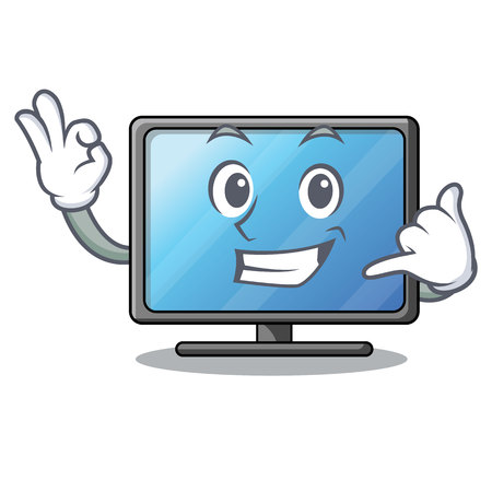 Call me lcd tv isolated with the character vector illustration Ilustração