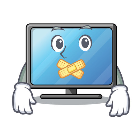Silent lcd tv isolated with the character vector illustration Ilustração