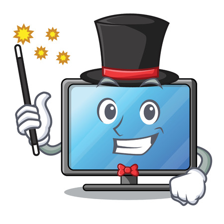 Magician lcd tv isolated with the character vector illustration