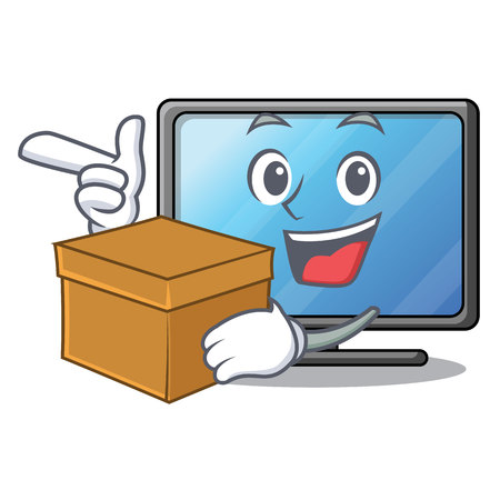 With box lcd tv above wooden cartoon table vector illustration