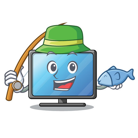 Fishing lcd tv in shape of mascot vector illustration Vectores