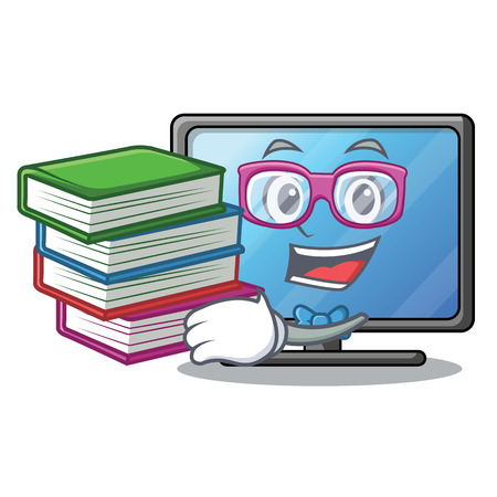 Student with book lcd tv isolated with the character vector illustration Ilustração
