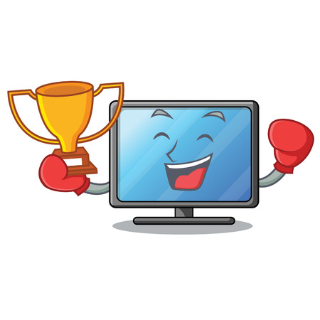 Boxing winner lcd tv isolated with the character vector illustration