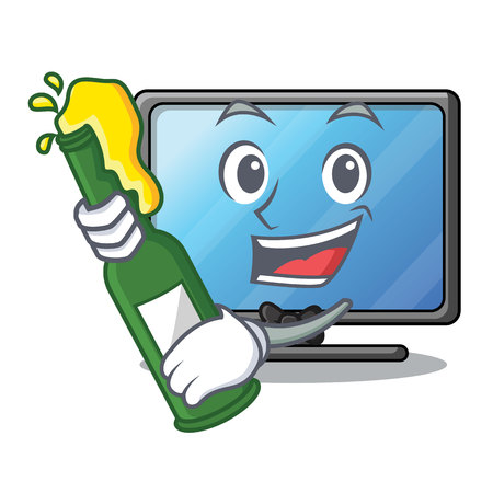 With beer lcd tv isolated with the character vector illustration