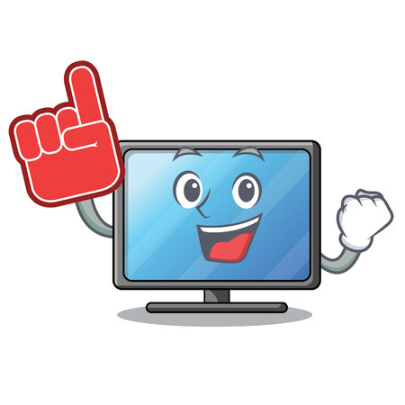 Foam finger lcd tv isolated with the character vector illustration Ilustração