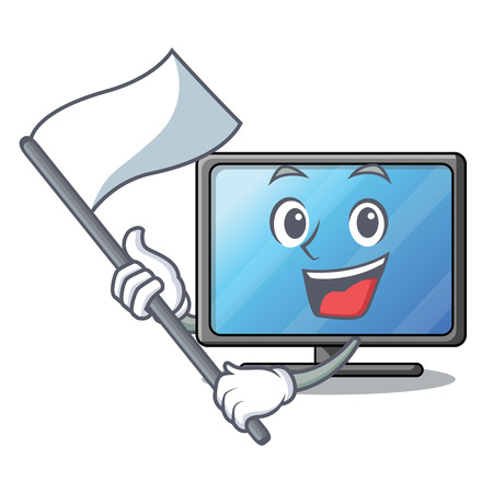 With flag lcd tv isolated with the character vector illustration