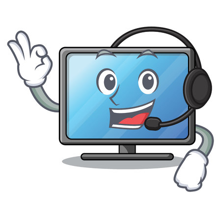 With headphone lcd tv isolated with the character vector illustration Ilustração