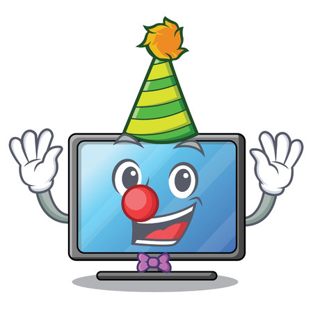 Clown lcd tv isolated with the character vector illustration