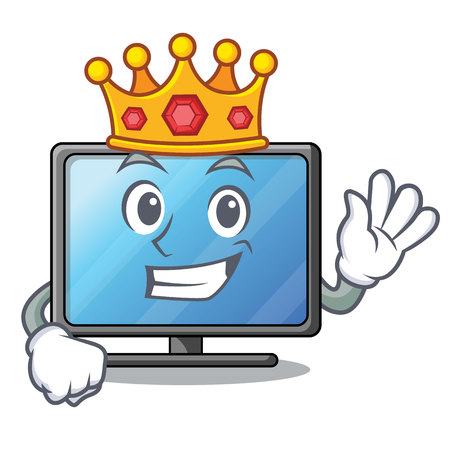 King lcd tv isolated with the character vector illustration Ilustração