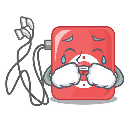 Crying mp3 player in a funny cartoon vector illustartion