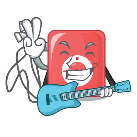 With guitar mp3 player in a funny cartoon vector illustartion