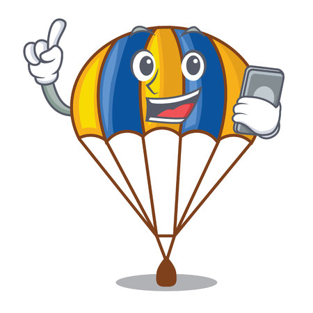With phone parachute in the shpe of charcter vector illustration