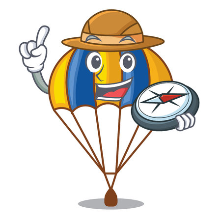 Explorer flying parachute in the mascot sky vector illustration  イラスト・ベクター素材