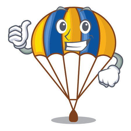 Thumbs up parachute isolated with in the cartoons vector illustration
