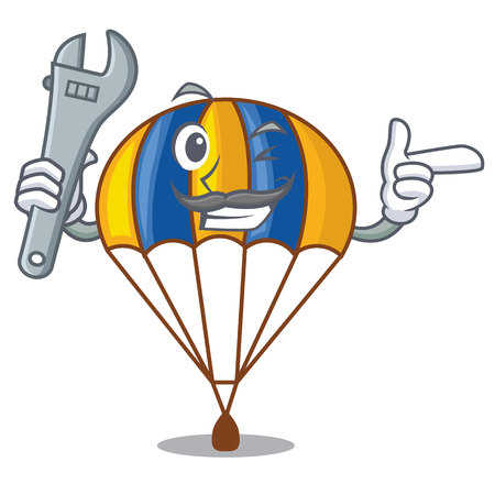 Mechanic parachute in shape of acartoon fuuny vector illustration