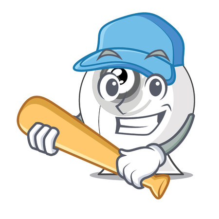 Playing baseball webcam in the shape of mascot vector illustration