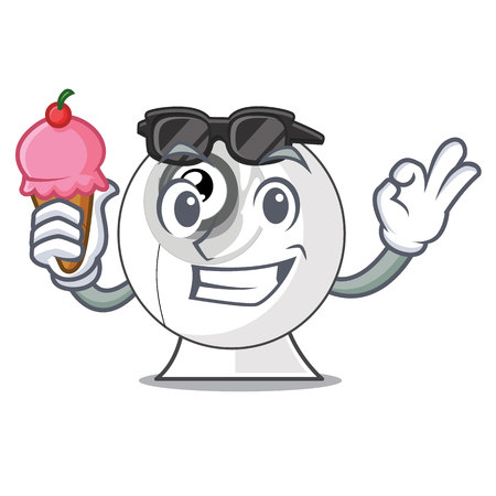 With ice cream webcam on the computer table character vector illustration