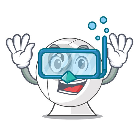 Diving webcam on the computer table character vector illustration