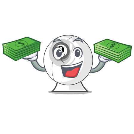 With money bag webcam is isolated with the cartoons vector illustration